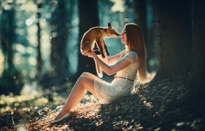 Girl and fox